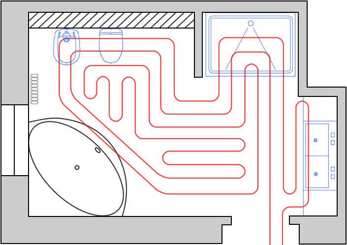 Вариант укладки труб теплого водяного пола в ванной