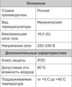 Характеристика электромеханического терморегулятора