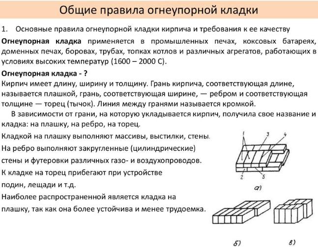 Основные размеры шамотного кирпича и его технологические параметры