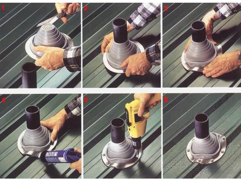 Как сделать проход через крышу для дымохода